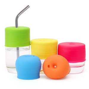 Custom and Wholesale Baby Gift Eco-friendly Reusable BPA Free Silicone Sippy Cup Lids With Straw Hole