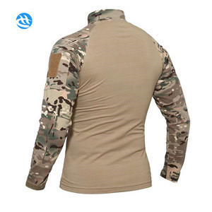 Custom New Arrival Multicam America Army Knitting Long Sleave T-shirt Camouflage Military Field Training Frog Uniforms