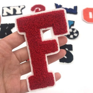 Discount price embroidery greek letter chenille patches embroidery badges