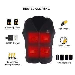 Electric 5V Outdoor smart Battery Operated Rechargeable Safety Adjustable Carbon Fiber Heated Vest for Men and Women