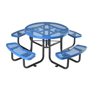 """Good Quality Furniture 46"""" Multi-function Outdoor Round Garden Perforated Metal Steel Top Table Set With 4 Chairs"""