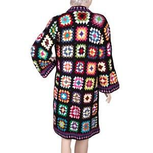 Handmade Winter Ladies Cotton Black Long Cardigan Crochet Women Sweater