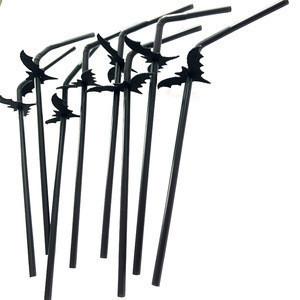 JSDH 50pcs Halloween food grade plastic  Black Straw with bat Long Flexible Drinking Straws Wedding Party supplies