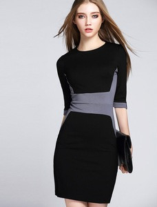 Ladies latest dress with knitted color patchwork half sleeves slimming dress