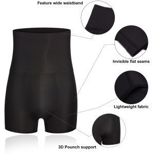 Men underwear boxer briefs waist shaper body shorts slimming tummy black high control girdle boxers 3xl
