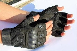Military tactical hard rubber knuckle mitten half finger hunting gloves