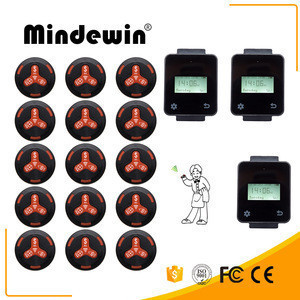 Mindewin Intelligent System Touch Screen Wireless Wrist Watch Pager And Quecing Call Button