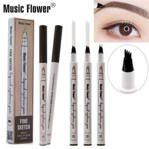 Music Flower Patented Microblading Eyebrow Tattoo Pen Waterproof Fork Tip Eyebrow Ink Pen 4 Heads Liquid Eyebrow Pen