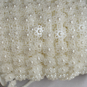 Pearl Trims 25 Meters Sew-On Floral Shape Plastic Pearl Banding Trim for Clothing Decorations