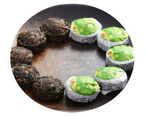 Raw Sheng Pu'er mini tuocha tea bowl with rose flowers pu'er tea