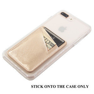 Rose Gold PU Leather Card Holder for Back of Phone