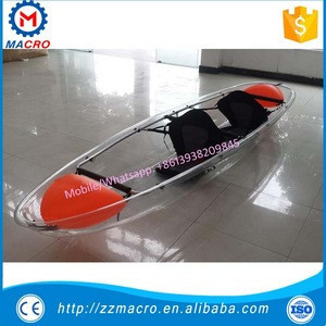 Rowing boat with 2 seats plastic clear/transparent polycarbonate