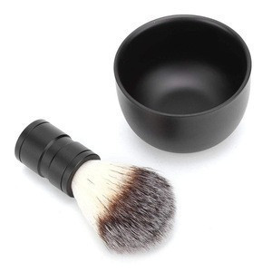 Shaving Soap Bowl Brush Set, Men Stainless Steel Shaving Soap Bowl with Soft Hair  Beard Cleaning Brush Tool Kits
