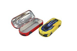 Wholesale 3d cartoon metal car shape tin pencil case for school kids with low price