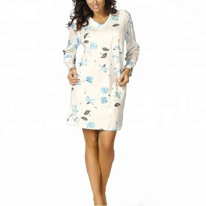 Womens floral printed V-neck nightgown