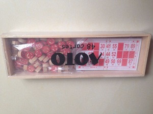 Wooden Red Bingo Chip Set with Crafts Scrapbooking and wood box