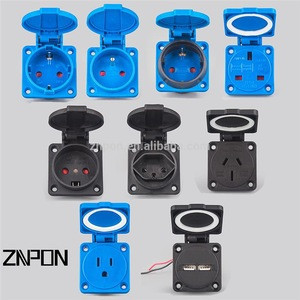 Z134D 16 amp Schuko receptacle with french waterproof socket