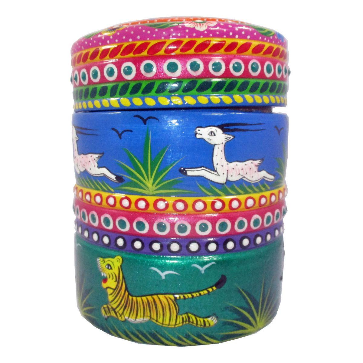 Round Wood Painted Jewelry Box