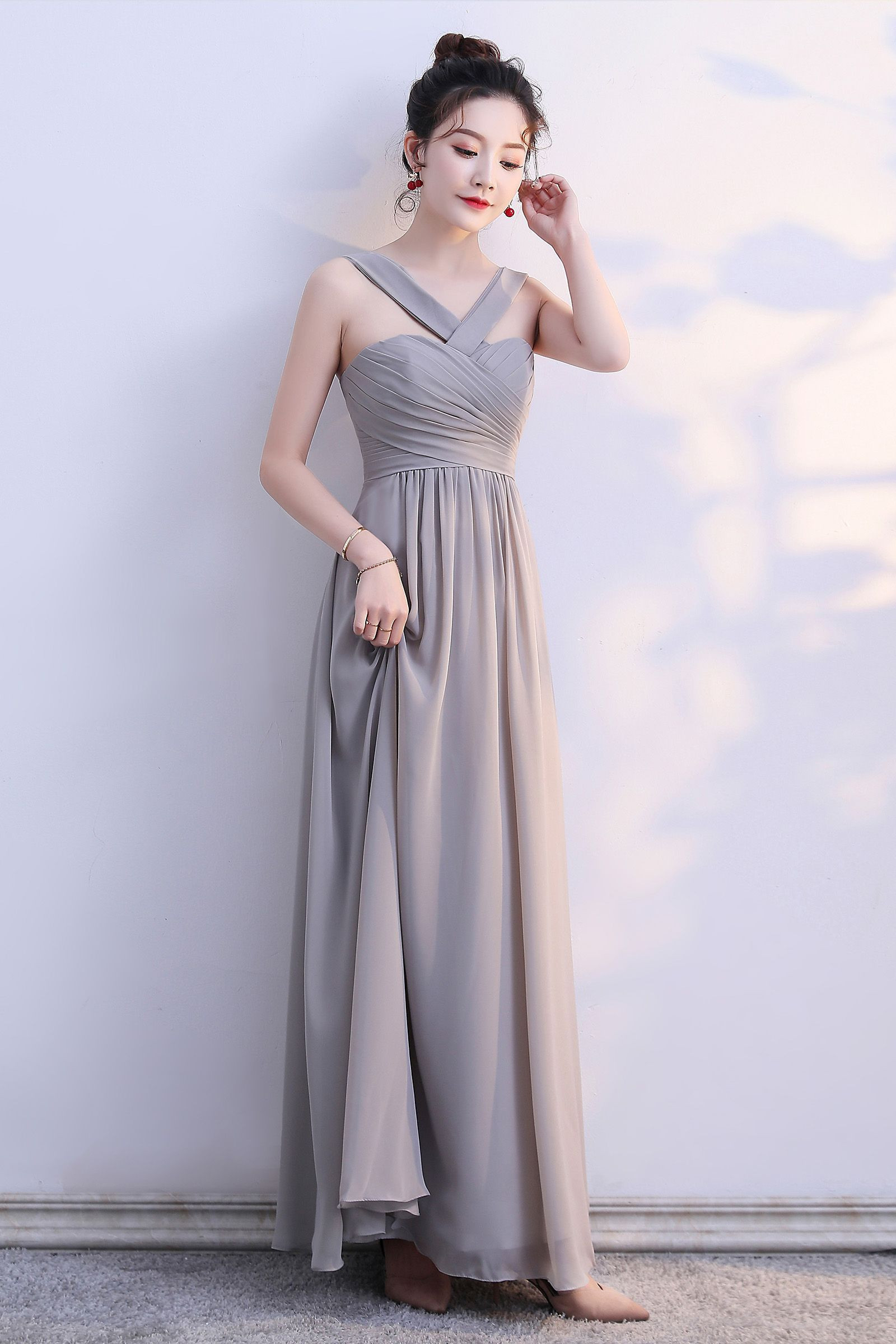Gray Chiffon Prom Gown Evening Dress