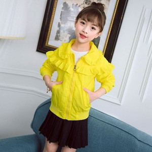 2018 Hot Sale Custom Knitted Girls Children Jackets Coat with Cartoon Print on Back With Low Price