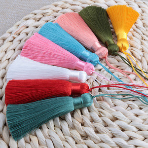 26 Color 8CM Anti Wrinkle Vertical Ice Silk Hanging Tassels Bookmarks Clothing Hair Accessories Tassel Fringe