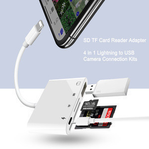 All in one Card reader for iPhone multiport4 in 1 USB SD/TF card reader for iPad/Pod