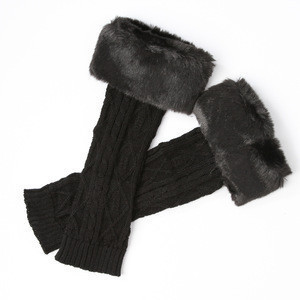 Girls beautiful faux fur loom knitting leg warmer