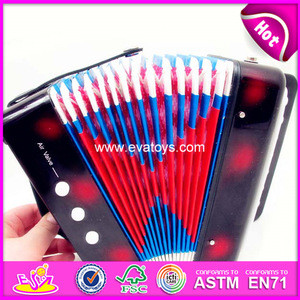 Hot selling kids toy wooden musical button accordion W07K006C