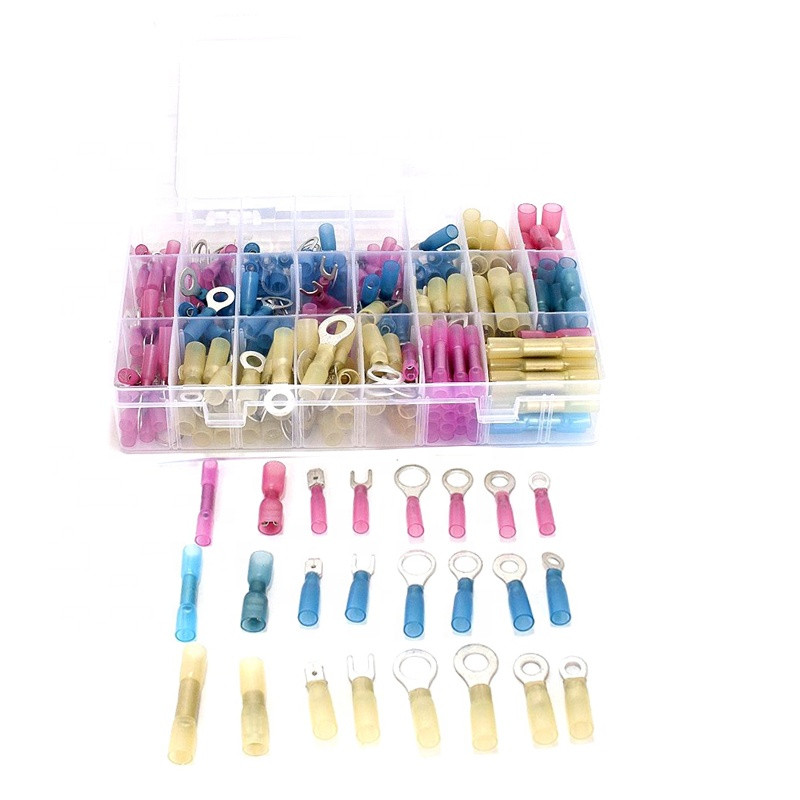 Insulated Heat Shrink Ring Terminal Electrical Wire Crimp Connectors kit