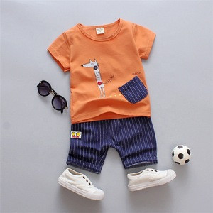 SS-821B 2Pcs Baby Clothing Sets Boys Summer Cotton Cute Aimals Newborn Toddler Clothes Top+Pant