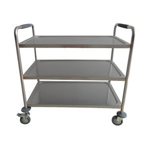 Stainless steel serving cart three-layer dining serving cart food trolley for sale