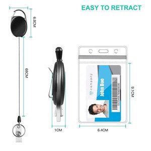 Vertical Style Clear ID Card Holder with Heavy Duty Retractable Badge Holders with Carabiner Reel Clip