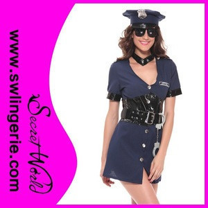 Wholesale 6pcs blue woman sexy police costume for halloween