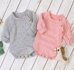 Wholesale babies clothes boys and girls pure color baby+rompers knitted baby clothing romper
