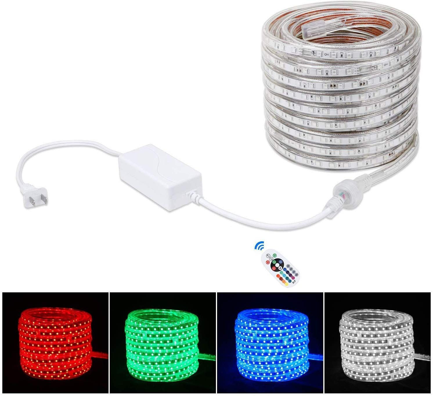 Flexible LED RGB Rope Light Strip, Multi Color Changing SMD 5050 LEDs, 110-120V AC, Dimmable, Waterproof, Indoor/Outdoor Rope Lighting + Remote Controller - (20m/65.6ft)