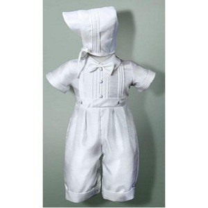 2015 boys handsome baptism clothing set, white cotton christening suit, bowknot decoration baptism for 3 month old boy baby