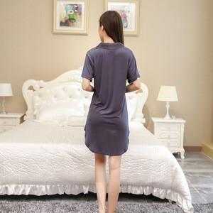 2018 Womens Satin Nightshirt Ladies Silky Pyjamas Nightwear Shirt Nightdress