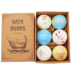 Amazon Best Seller Customized bath bombs gift set 60g*6pcs handmade spa bubble fizzies Relaxing organic Natural bath bombs