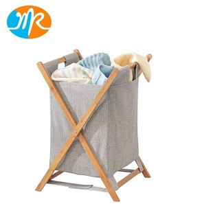 Bamboo Laundry Hamper Sorter Cart Folding Clothes Basket Storage with Poly Cotton Liner Fabric Bag