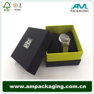 custom silver hot stamping logo cardboard packaging watch boxes wholesale with lid for men