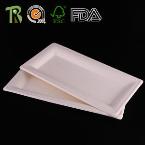 Disposable Biodegradable Sugarcane Bagasse Meat Packing Trays