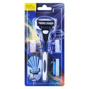 Do Not Get Clogged Sharp Germany Blade No Disposable Men Razor 4 Blades Customized Brand Shaving Blade For Men Beard GF-0212