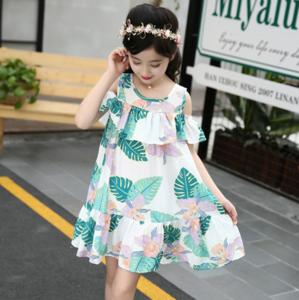 Girls dresses summer new 2018 big child Korean version of the word flower shoulder