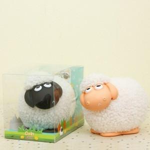 Little lamb money box coin bank, custom made white sheep coin bank, making plastic coin bank money box for little sheep