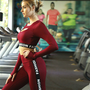 OEM Quick Dry Women Compression Sports T Shirts and Leggings Gym Tights Ladies Design Your Own Fitness Clothing Sets