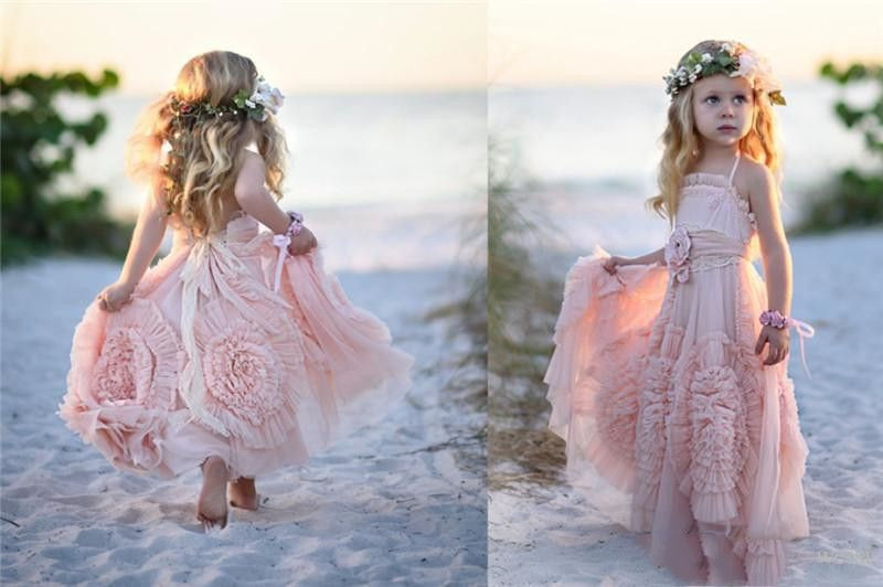 Cheap Pink Flower Girl Dresses Spaghetti Ruffles Hand made Flowers Lace Tutu  Vintage Little Baby Gowns for Communion Boho Wedding