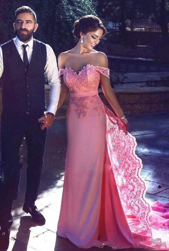 free Shipping Elegant Mermaid Water Melon Prom Dresses Long Applique Off Shoulder Short Sleeve Formal Party Dress Evening Wear Cheap