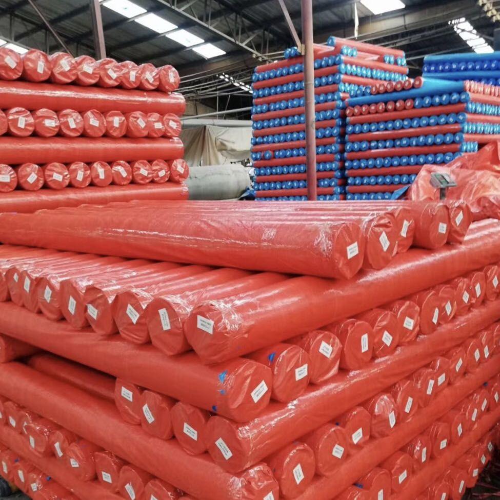 Red PE tarpaulin rolls