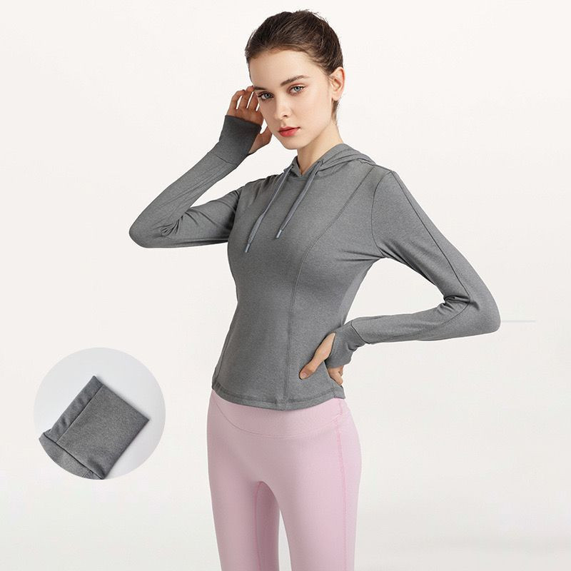 Women's running fitness casual fashion hooded slim tops