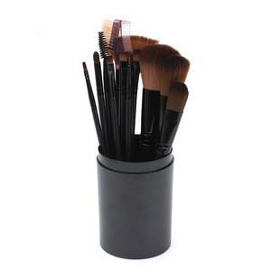 12 pcs Fashion Fair Wholesale Professional PU Leather Cylinder Holder Makeup Brushes Cosmetic Kit Oval Makeup Brush set